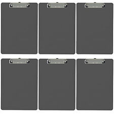 Plastic Clipboard Opaque Color Letter Size Low Profile Clip (Pack of 6) (Gray)