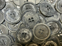 Vintage Metal Button Pewter//Dusty Blue Patina Finish 15mm /& 18mm 4hole