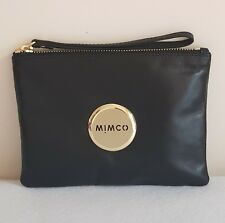 FREE POST MIMCO LOVELY MEDIUM POUCH MATTE BLACK GOLD TONE SHEEPSKIN RRP99.95