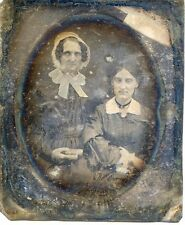 early DAGUERREOTYPE 2 WOMEN WHITE LACE BONNET COLLARS BOOK on lap