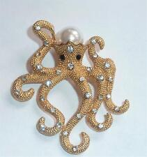 Octopus with Diamante and Faux Pearl Detail Brooch Pin in gold or silver tone