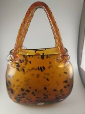 """Block Crystal Vase Mouth Blown Hand Cut & Polished Leopard Print """"Charlize"""""""