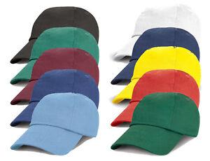 Kids Childs Boys Girls Adjustable Low Profile 6 Panel Plain Baseball Cap Cotton