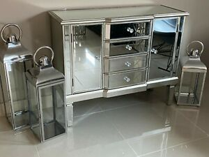 Mirrored Venetian Sideboard Chest Cabinet with Drawers Antique Silver Finish