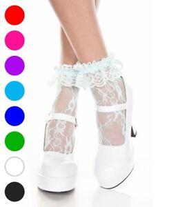 Lace Ruffle Ankle High Socks - Music Legs 574