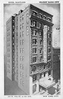 New York City~Hotel Maryland~104 W 49th Street~1940s B&W Manhattan Post Card Pub