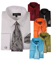 Men's Fashion Dress Shirt Set with Ties and Handkerchiefs by George's 619