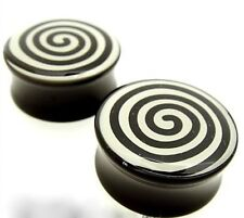 PAIR 0G 8MM SPIRAL ACRYLIC DOUBLE FLARED PLUGS PLUG