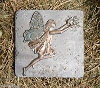 "Plaster cement fairy w flower plastic travertine tile mold 6"" x 6"" x 1/3"""