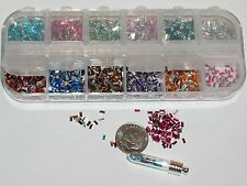1200pc+  Tiny Fairy Rhinestone confetti Gel gems KIT 12 Mix for glass bottle 3mm