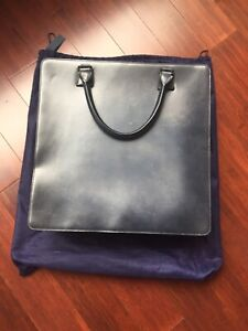 Araldi1930 Blue Leather Tote Bag Unisex With Detachable Strap.