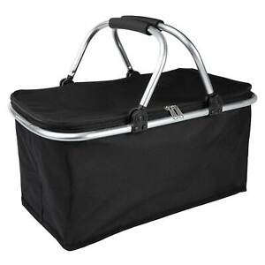 ONVAYA® Einkaufskorb faltbar mit Kühlfunktion   schwarz   Isolierkorb Deckel