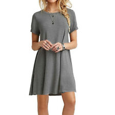 Stylish LadySummer Short Sleeve Casual Blouse Loose Tops T-shirt Party MiniDress
