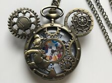 Steampunk Mickey Mouse Donald Duck Gears Pocket Watch on Chain Gift Christmas