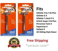 2 Gillette Trac II Razor cartridge Refills 7 o' clock PII Metal Shaver Handle US