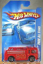 2008 Hot Wheels #48 2008 All Stars FIRE-EATER Fire Truck Red Variant Chrome 5 Sp