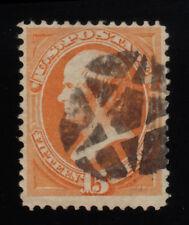 US Stamp Scott #163 Webster 15c Bank Note Used Pentagram Fancy Cancel CV$160 WOW