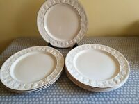 Royal Worcester Palissy Crown Ware. Dinner Plate x 6. White/Cream With Gilt Trim