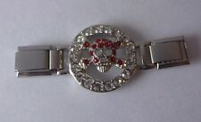 SKULL & CROSSBONES Italian Charm CONNECTOR LINK Red Gems fits ALL 9mm Bracelets