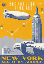 "New York 12x18"" Art Deco Print NOT A POSTER Blimp Airship"