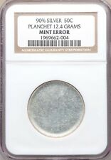 Undated Silver Half Dollar NGC Mint ERROR Blank Planchet 12.4 Grams Tough Coin