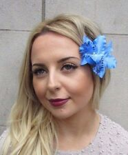 Double Bleu Orchidée Cattleya Pince Cheveux Fleur Rockabilly Années 1950