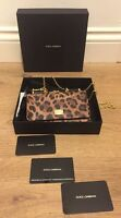 Dolce & Gabbana Leopard Print Mini Chain Crossbody Bag Brown/Black