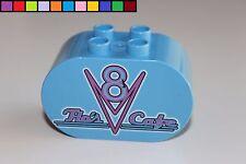 Lego Duplo - Flo´s Cafe - Cars - hell-blau - oval - Baustein - Motivstein