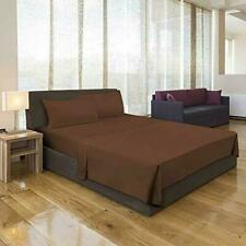 1800 Count Deep Pocket Microfiber Fitted Sheet Bed Sheet Pillow Cover Sham Brown