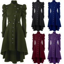 Womens Coat Gothic Jacket Black Steampunk Victorian Corset Long Trench Jacket