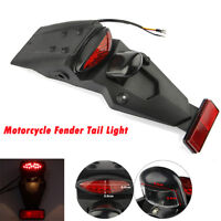 Universal Motorcycle Rear Fender Mudguard LED Brake Tail Light For Honda Yamaha