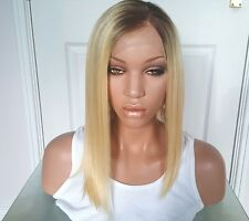 """Remy Human Hair Wig Glueless Front Lace 14"""" Short Blonde 60/613 Roots 6"""
