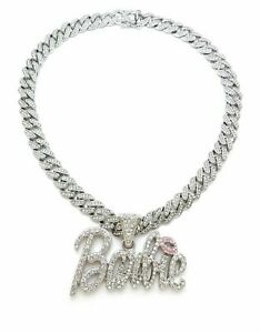 NICKI BARBIE PENDANT MIAMI CUBAN LINK CHAIN NECKLACE SILVER BARBS RAPPER ICEY