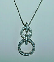 """Rhinestone Linked Double Circle Pendant Necklace Silver Snake Chain 16""""-18"""""""