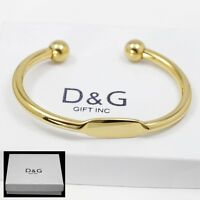 "DG Men's 7"" Stainless Steel,Gold Adjustable Round Cuff Bracelet*Unisex + Box"