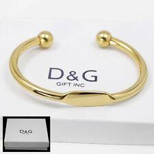 """DG Men's 7"""" Stainless Steel,Gold Adjustable Round Cuff Bracelet*Unisex + Box"""