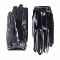 Women's Real Leather Patent Leather Shiny Black Thin Touch Screen Short Gloves