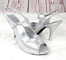Jacqueline Ferrar Peep-toe Pumps Sz 9.5 Slingback Heels Silver Metallic Bridal