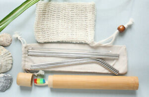 Eco Travel Set Zero Waste Bamboo ToothBrush + Case Reusable Straws Soap Bag Gift