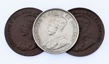 Lot of 3 Canadian Coins 1920 1C, 1921 1C, 1911 10C in XF Condition