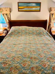 Beautiful Traditions by Pamela Kline Blue Floral Quilt- Queen Size 94 x 90- $775