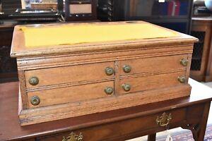 Antique Oak School Master's Slant Front Oak Desk