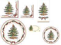 C.R. Gibson Holiday Paper Plates, Napkins – Spode Holly & Ribbon Christmas Tree