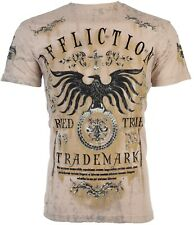 Affliction para hombre S/S T-Shirt intentado Águila Arena lavado de tabaco Tatuaje Biker S-3XL $58