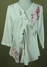 Hübsche BIBA 3/4 Arm Print Bluse, Hemd Baumwolle+Viskose weiß geblümt Gr. 36