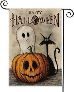 Happy Halloween Garden Flag Vertical Double Sided Ghost Pumpkin Jack O'Lantern