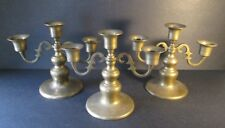 "3 Vintage Brass Candle Holders Each Accommodates Three 1"" Diameter Candles"