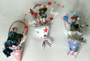 JULY 4TH USA Miniature Tussie Mussie Cone vintage look  OOAK