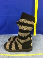 Ugg Australia 5822 Tall Cardy Cable Knit Black & Cream Boots  size 7