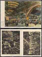 Farblitho Rud. lipus gare centrale de Leipzig querbahnsteig voyageurs DR 1935